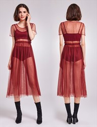 Burgundy Sheer Tulle Overlay Short Sleeve A-Line Tea Length Dress