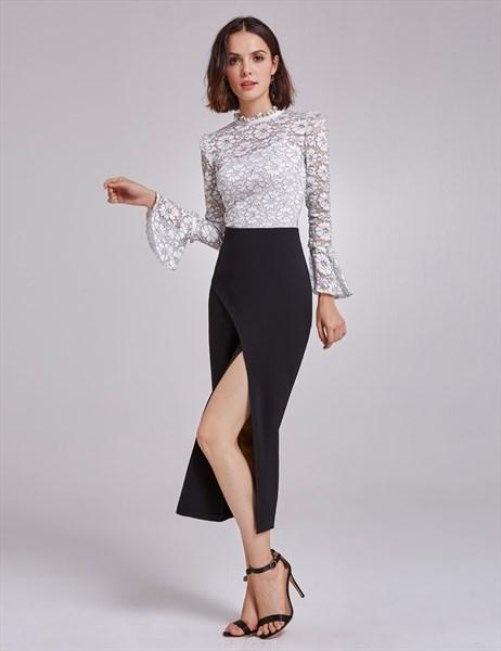 White And Black Long Sleeve Tea Length Sheath Dress With Split