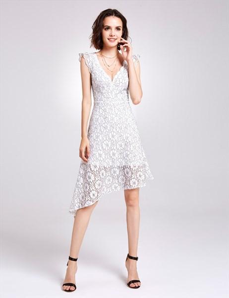 White Deep V Neck Cap Sleeve Knee Length Lace Asymmetrical Dress