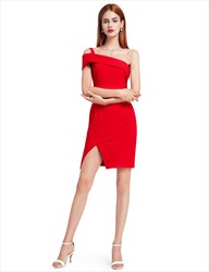 Elegant Short Red One Shoulder Sheath Cocktail Dress With Side Slit
