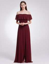 Off The Shoulder Empire Waist A-Line Maxi Dress With Side Split