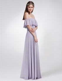 Off The Shoulder Empire Waist A-Line Maxi Dress With Side Split