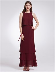 Simple Elegant Sleeveless Two-Piece Chiffon Long Evening Dress