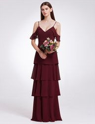 Elegant Simple Cold Shoulder A-Line Chiffon Long Evening Dress