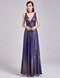 Sparkly Sleeveless Plunge V Neck Empire Waist A-Line Long Prom Dress