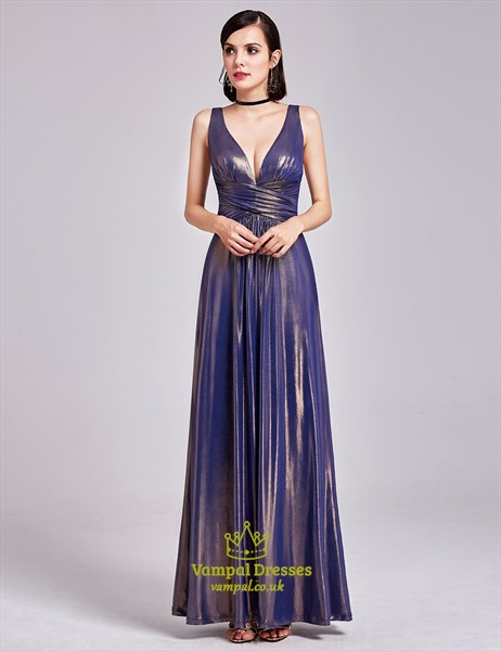 Sparkly Sleeveless Plunge V Neck Empire Waist A-Line Long Prom Dress