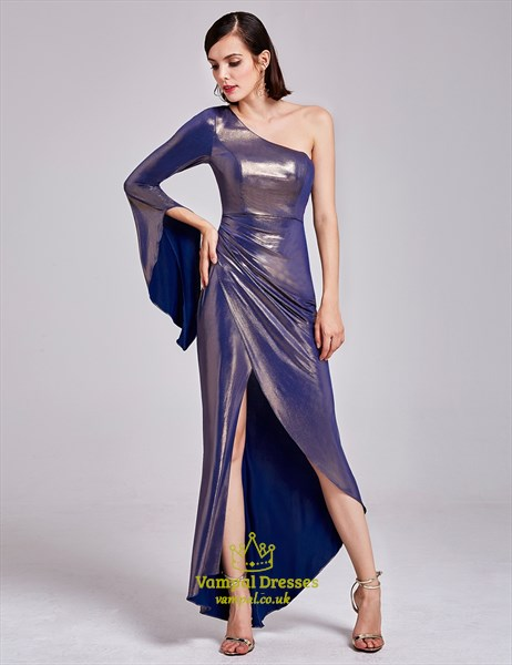 One Shoulder Asymmetrical High Low Cocktail Dresses With Long Sleeve