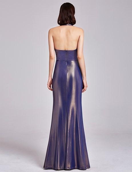 Floor Length Deep V Neck Halter Evening Dress With Slits And Open Back