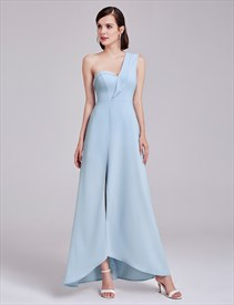 Light Blue One Shoulder Sweetheart Neckline Asymmetrical Long Dress