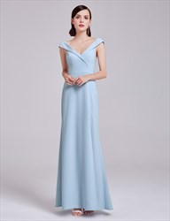 Elegant Light Blue Cap Sleeve V Neck Long Evening Dress With V-Back