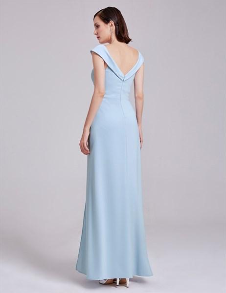 Elegant Light Blue Cap Sleeve V Neck Long Evening Dress With V-Back