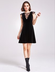 Illusion Neckline Cap Sleeve A-Line Knee Length Cocktail Dress