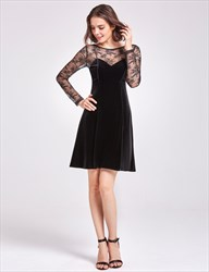 Illusion A-Line Short Homecoming Dress With Lace Long Sleeves