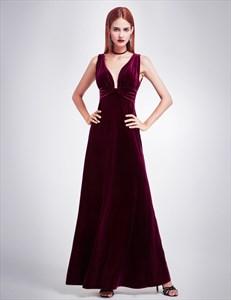 Sleeveless V Neck Empire Waist Velvet Floor Length Prom Dress