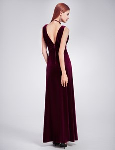 Sleeveless V Neck Empire Waist Velvet Floor Length Prom Dress