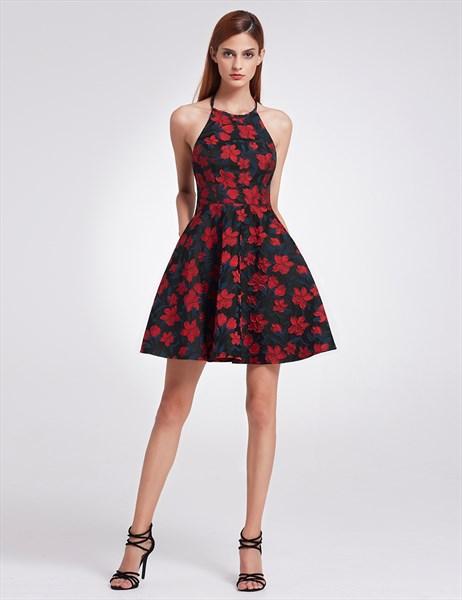 A Line Halter Neck Short Floral Print Cocktail Dress With Open Back
