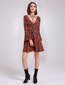 Vintage Short Floral V-Neck A-Line Cocktail Dress With Long Sleeves