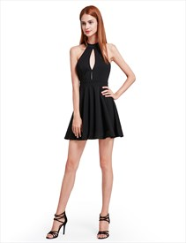 7e5d9e6adc Simple Elegant A Line Sleeveless Little Black Dress With Keyhole Front