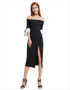 Off The Shoulder Bell Sleeve Tea Length Cocktail Dress With Side Split