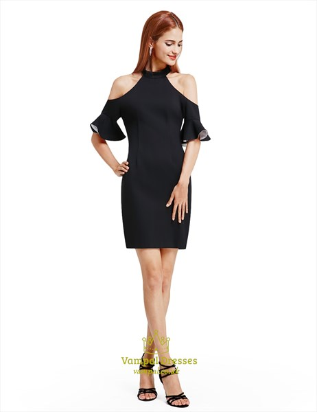 Simple Elegant Black Knee Length Bodycon Cocktail Dress With Sleeves