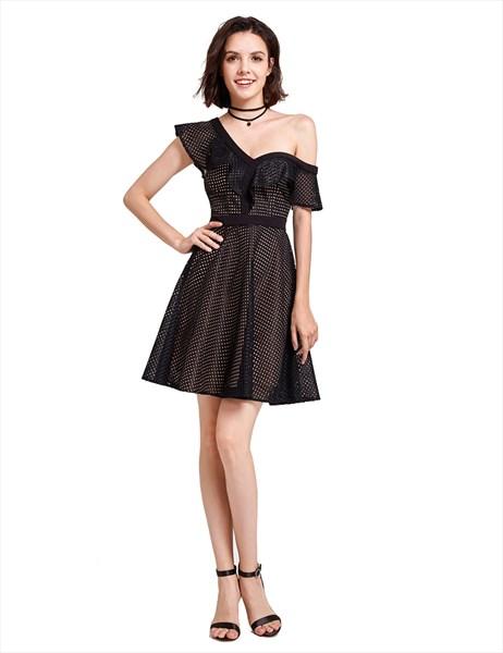 Elegant Black Asymmetrical One Shoulder A-Line Short Homecoming Dress