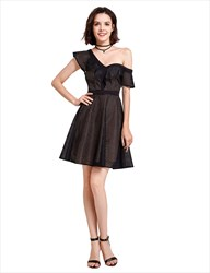 Elegant Black Asymmetrical One Shoulder A-Line Short Homecoming Dress
