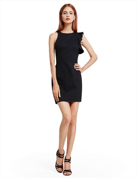 Asymmetrical Sleeveless Black Short Sheath Closed Back Cocktail Dress