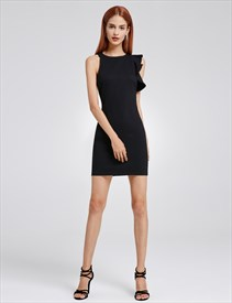 88095f5394b959 Short Sleeve Elegant Tea Length Black Sheath Dress With Side Splits ...
