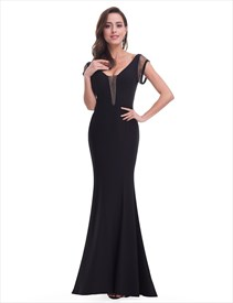 Black V Neck Cap Sleeve Floor Length Mermaid Prom Dress With Open Back
