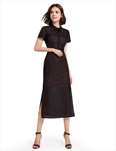 Short Sleeve Elegant Tea Length Black Sheath Dress With Side Splits