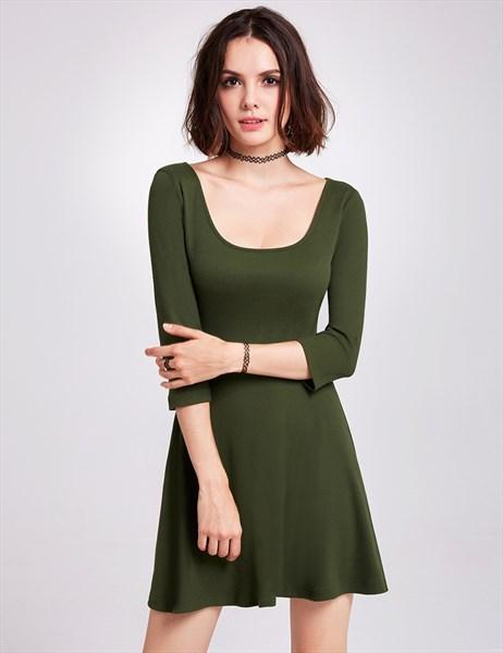 Short A-Line Scoop Neckline Keyhole Back Dress With 3/4 Length Sleeves