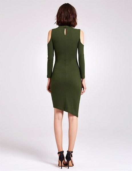 Asymmetric Knee Length Bodycon V-Neck Knitting Dress With Long Sleeves