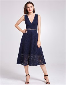 Tea Length Navy Blue Sleeveless Deep V Neck A-Line Lace Cocktail Dress