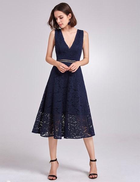 Tea Length Navy Blue Sleeveless Deep V Neck A-Line Lace Cocktail Dress
