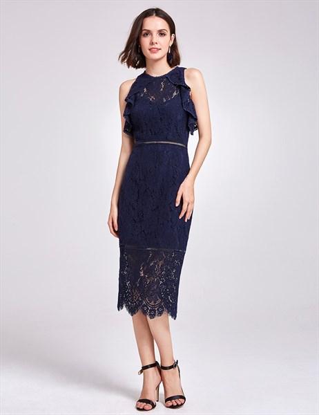 Navy Blue Sleeveless Tea Length Sheath Lace Cocktail Dress With Split