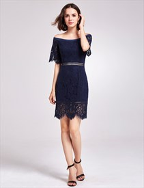 Navy Blue Off Shoulder Half Sleeve Short Sheath Lace Cocktail Dress