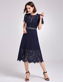 Elegant Navy Blue Short Sleeve A-Line Tea Length Lace Cocktail Dress