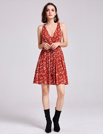 Simple Lovely Short Deep V Neck Sleeveless A-Line Flower Print Dress