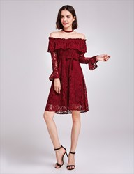 Burgundy Off The Shoulder Long Sleeve A-Line Short Lace Cocktail Dress
