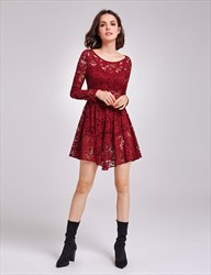 Illusion Burgundy A-Line Short Lace Homecoming Dress With Long Sleeves