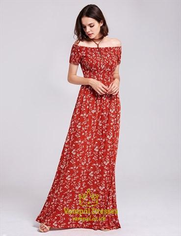 Off Shoulder A-Line Short Sleeve Floor Length Floral Print Maxi Dress