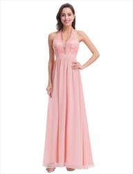 Halter Deep V-Neck Empire Waist A-Line Lace Top Chiffon Long Prom Gown