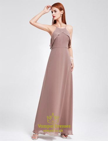 Spaghetti Strap A-Line Floor Length Chiffon Prom Dress With Open Back