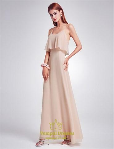 Simple Spaghetti Strap A-Line Floor Length Chiffon Bridesmaid Dress