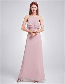 Elegant Simple Spaghetti Strap A-Line Floor Length Chiffon Prom Dress