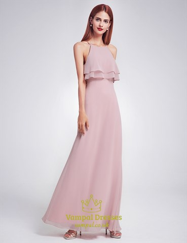 Elegant Simple Spaghetti Strap A-Line Floor Length Chiffon Prom Dress