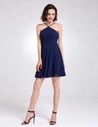 Lovely Navy Blue Spaghetti Strap A-Line Short Lace Homecoming Dress