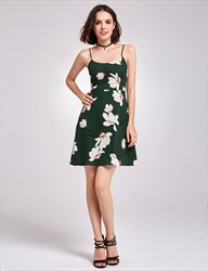 Lovely Dark Green Spaghetti Strap Knee Length A-Line Floral Dress