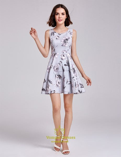 Lovely Short Sleeveless A-Line Floral Print Dress With Scoop Neck