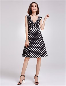 Black And White Polka Dot Cap Sleeve V-Neck A-Line Knee Length Dress